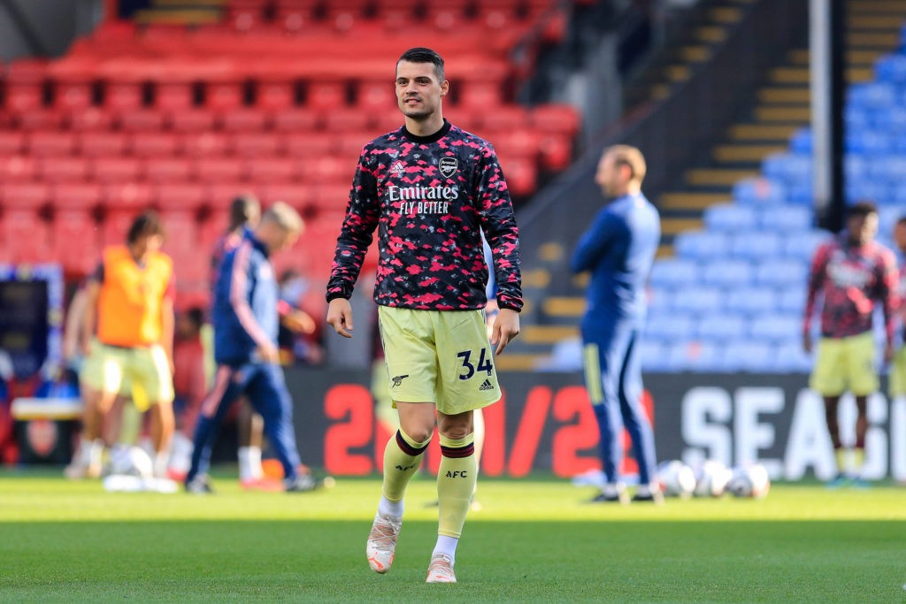 Arsenal midfielder Granit Xhaka warms up during the Premier League match between Crystal Palace and Arsenal at Selhurst Park, London, England on 19 May 2021. Copyright: Phil Duncan