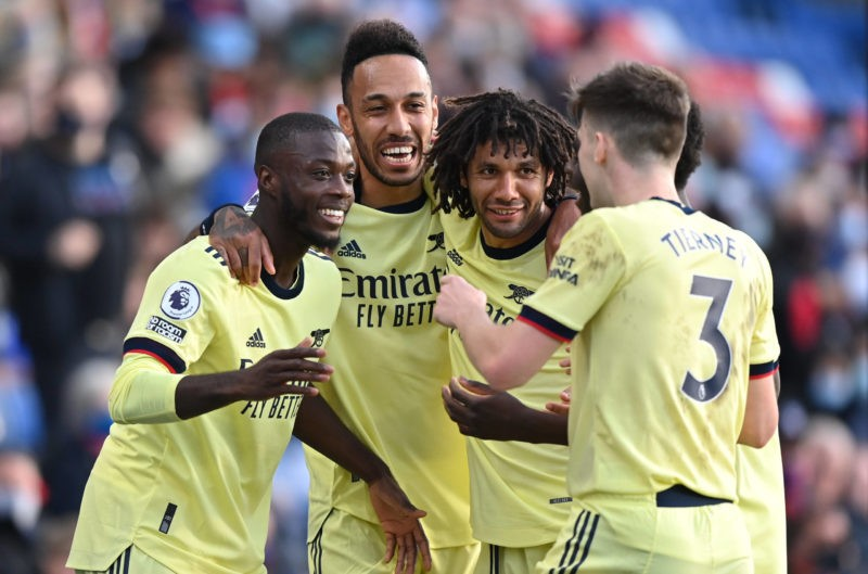 Nicolas Pepe left celebrates with team-mates after scoring their side s first goal of the game during the Premier League match at Selhurst Park, London. Picture date: Wednesday May 19, 2021. Copyright: Justin Setterfield