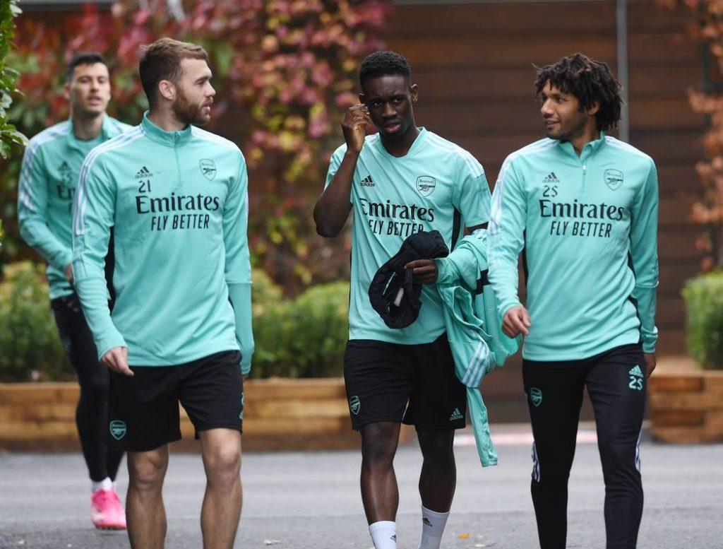 Folarin Balogun (2R) in training with Arsenal (Photo via Arsenal.com)