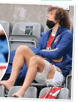 David Luiz with ice on his hamstring (via Daily Mirror)