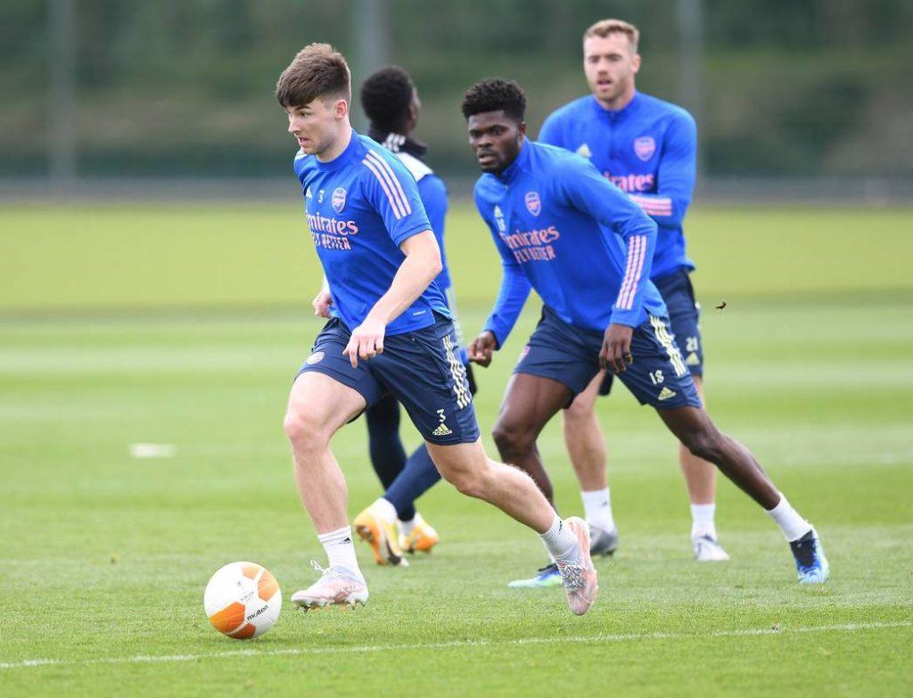 Kieran Tierney back in Arsenal training (via Arsenal)