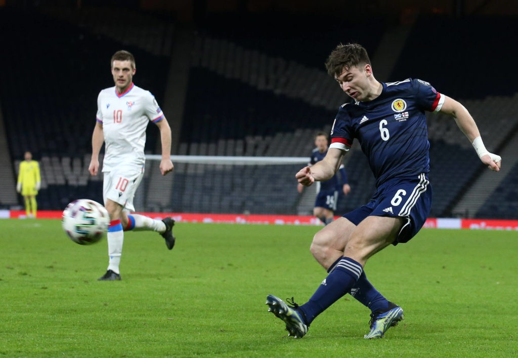 Kieran Tierney in action during the 2022 FIFA World Cup Qualifying match at Hampden Park, Glasgow. Picture date: Wednesday March 31, 2021. Copyright: Andrew Milligan