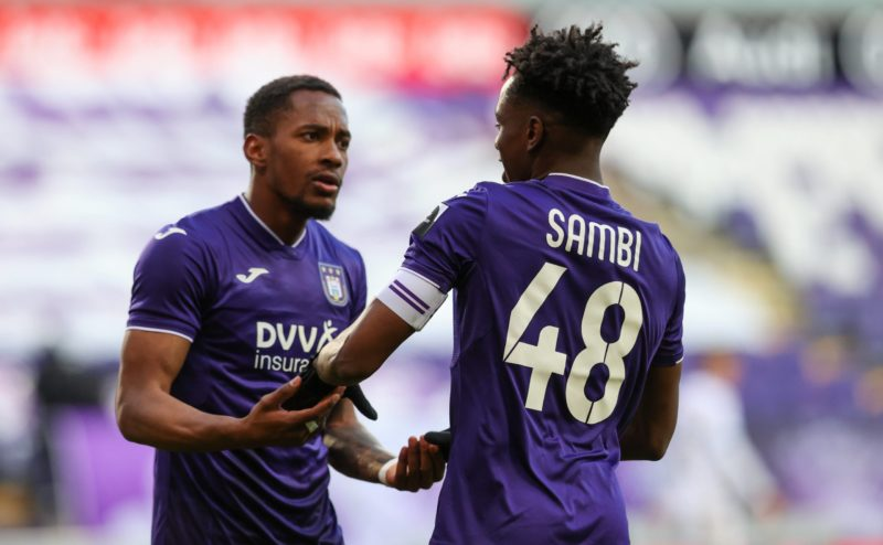 Albert Sambi Lokonga celebrates after scoring during a soccer match between RSC Anderlecht and Club Brugge KV, Sunday 11 April 2021 in Brussels, on day 33 of the Jupiler Pro League first division of the Belgian championship. VIRGINIE LEFOUR