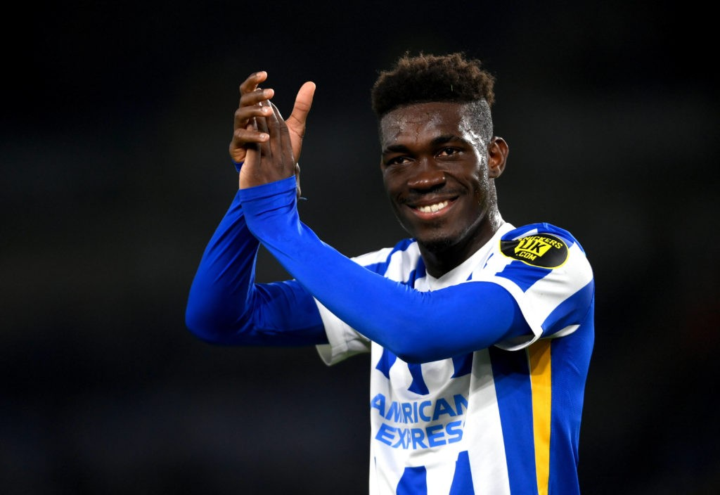 Brighton and Hove Albion's Yves Bissouma applauds the fans at the end of the Premier League match at the AMEX Stadium, Brighton. Picture date: Tuesday, May 18, 2021. Copyright: Mike Hewitt