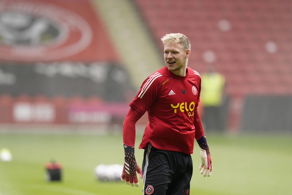 Sheffield, England, 23rd May 2021. Aaron Ramsdale of Sheffield Utd warms up during the Premier League match at Bramall Lane, Sheffield. Picture: Andrew Yates / Sportimage