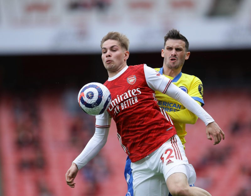 Emile Smith Rowe of Arsenal with Pascal Gross of Brighton during the Premier League match at the Emirates Stadium, London. Picture credit: David Klein / Sportimage