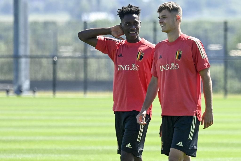 Belgium's Albert Sambi Lokonga and Zinho Vanheusden pictured during a training session of the Belgian national soccer team Red Devils, in Tubize, Tuesday 01 June 2021. Photo: DIRK WAEM