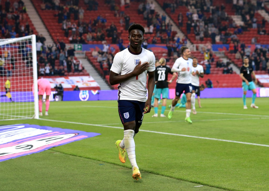 Bukayo Saka celebrates scoring their side s first goal of the game during the International Friendly at The Riverside Stadium, Middlesbrough. Picture date: Wednesday June 2, 2021. Copyright: Lindsey Parnaby