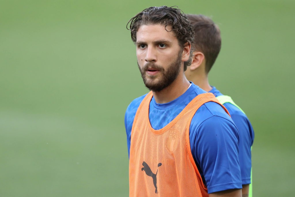 Bologna, Italy, 4th June 2021. Manuel Locatelli of Italy during the warm-up prior to the International Football Friendly match at Stadio Dall Ara, Bologna. Picture: Jonathan Moscrop / Sportimage