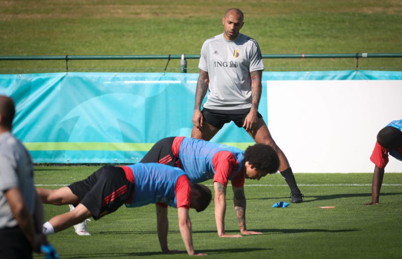 Belgium's assistant coach Thierry Henry pictured during a training session of the Belgian national soccer team Red Devils, in Tubize, Wednesday 09 June 2021. The team is preparing for the upcoming Euro 2020 European Championship, EM, Europameisterschaft VIRGINIE LEFOUR