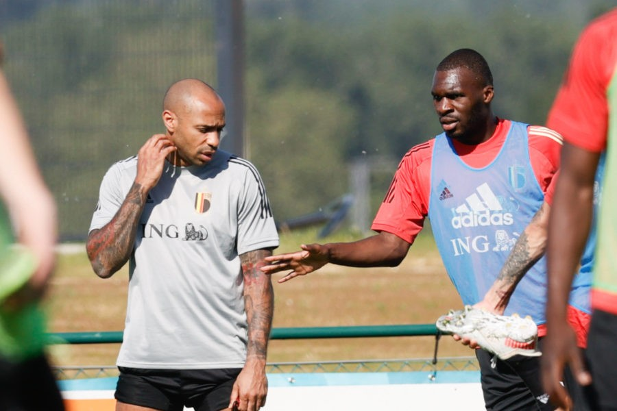Belgium's assistant coach Thierry Henry and Belgium s Christian Benteke pictured during a training session of the Belgian national soccer team Red Devils, in Tubize, Wednesday 09 June 2021. The team is preparing for the upcoming Euro 2020 European Championship, EM, Europameisterschaft BRUNO FAHY