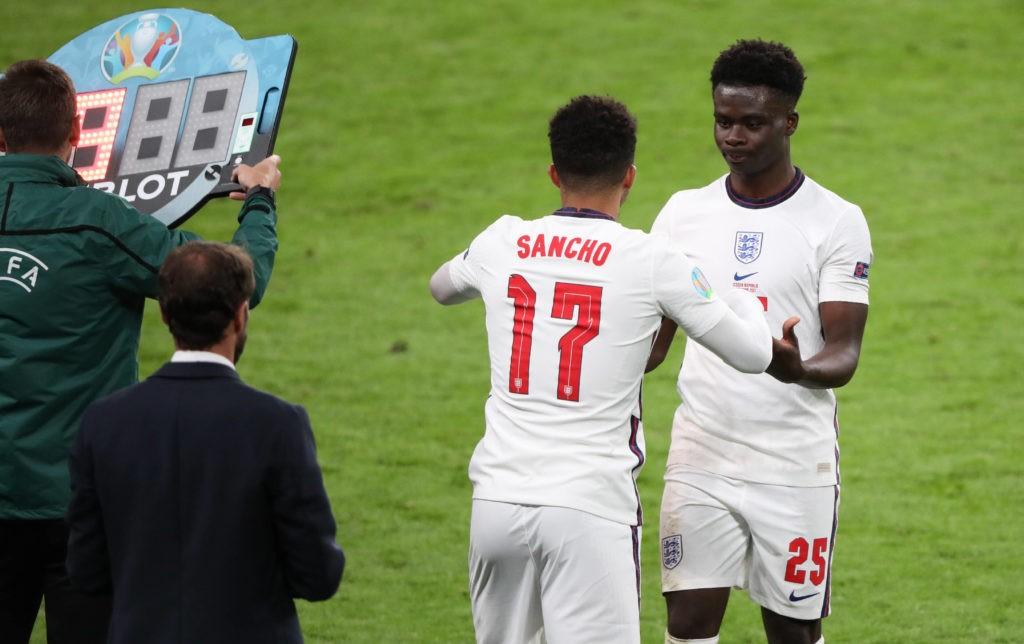Jadon Sancho E replaces Bukayo Saka E at the Czech Republic v England UEFA EURO, EM, Europameisterschaft,Fussball 2020 Group D match at Wembley Stadium, London, UK, on June 22, 2020.