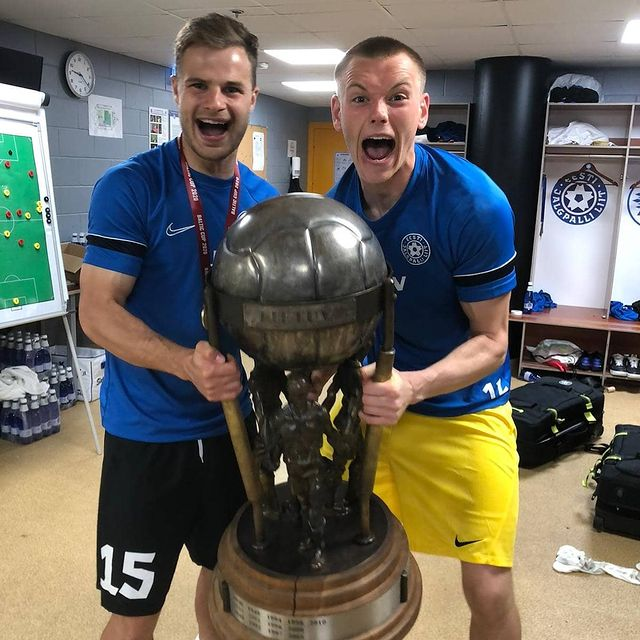Karl Hein (R) celebrates winning the Baltic Cup (Photo via Hein on Instagram)