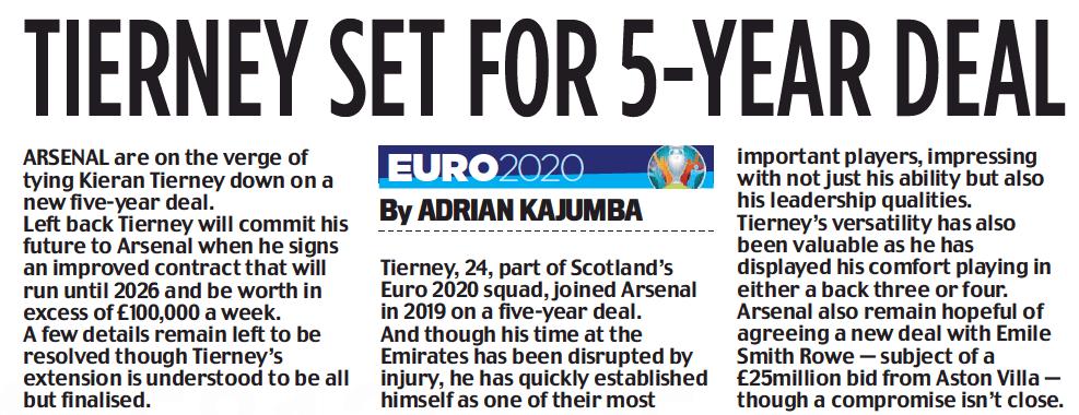 Kieran Tierney new deal - Daily Mail