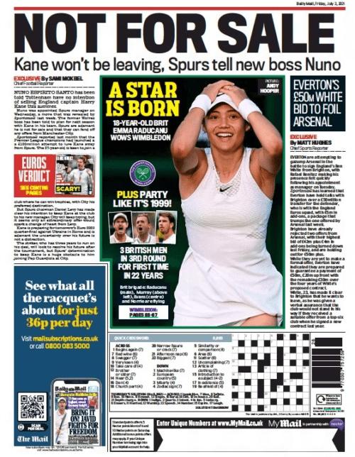 Daily Mail - Everton's £50m White bid to foil Arsenal