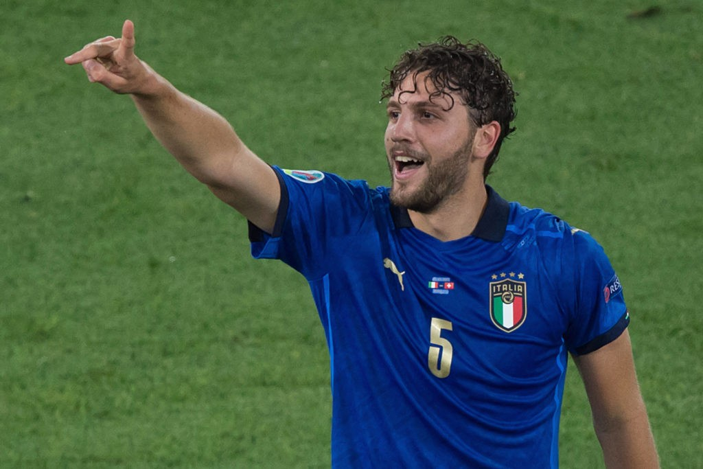 Manuel Locatelli of Italy celebrate after score the goal during the Euro2020 football match between Italy vs Switzerland at Olimpico stadium in Rome, Italy, June 16, 2021. Copyright: Imago-Images/Emmefoto