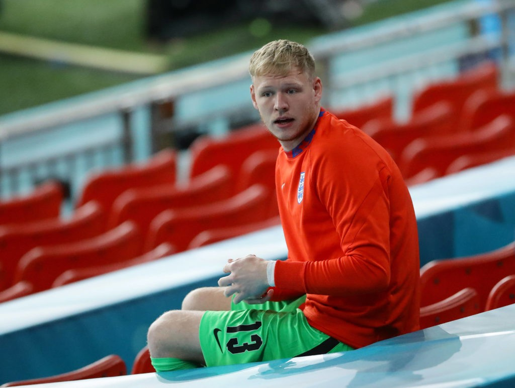 Aaron Ramsdale of England takes his seat on the substitutes bench during the UEFA European Championships match at Wembley Stadium, London. Picture credit David Klein / Sportimage