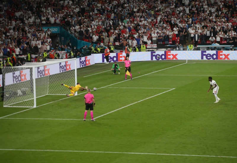 Bukayo Saka of England sees his penalty saved by Gianluigi Donnarumma of Italy during the UEFA Euro 2020 final match at Wembley Stadium, London Copyright: Paul Chesterton