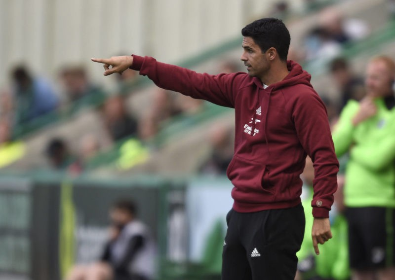 Arsenal manager Mikel Arteta during the pre-season match at Easter Road, Edinburgh. Picture date: Tuesday July 13, 2021. Use subject to restrictions. Copyright: Ian Rutherford