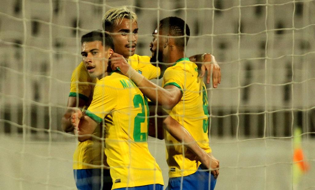 15.07.2021 - Brazil - United Arab Emirates - International Friendly. Gabriel Martinelli, Reinier, and Matheus Cunha celebrating a goal (Photo via Imago Images)
