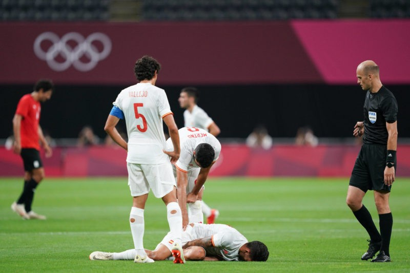 Dani Ceballos 10 Spain gets subbed out injured after a foul during the Mens Olympic Football Tournament Tokyo 2020 match between Egypt and Spain at Sapporo Dome in Sapporo, Japan. Egypt v Spain - Sapporo Dome