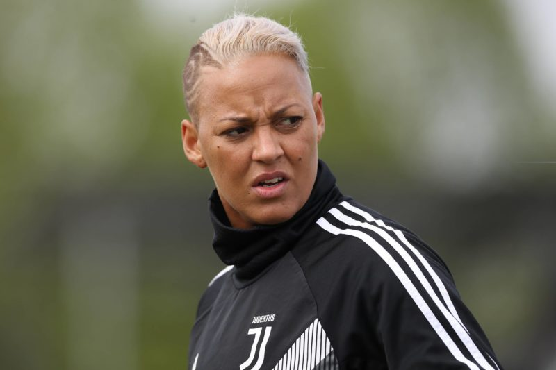 Lianne Sanderson of Juventus during the Serie A Femminile match at the Juventus Center, Vinovo. Picture date: 14th April 2019. Picture credit Jonathan Moscrop/Sportimage