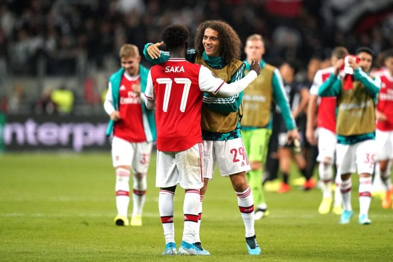 Bukayo Saka is congratulated by Arsenal s Matteo Guendouzi right after the final whistle Copyright: John Walton