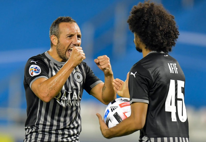 Santi Cazorla L of Al Sadd SC celebrates with his teammate Akram Afif after scoring a goal during the AFC Asian Champions League group D football match between Al Sadd SC of Qatar and Al Ain FC of United Arab Emirates at Jassim Bin Hamad Stadium in Doha, Capital of Qatar, Sept. 15, 2020. Photo by /Xinhua SPQATAR-DOHA-FOOTBALL-AFC CHAMPIONS LEAGUE Nikku