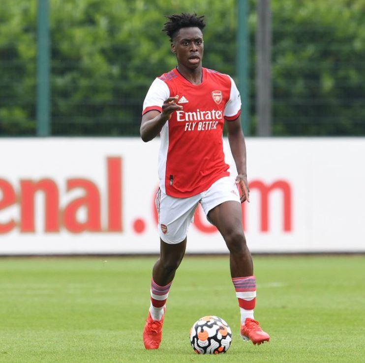 Albert Sambi Lokonga in a pre-season friendly with Arsenal (Photo via Arsenal on Twitter)