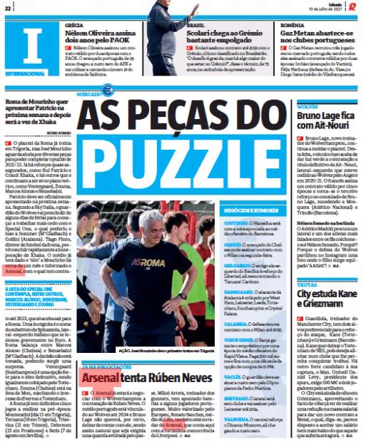 Arsenal Ruben Neves Record 10 July 2021