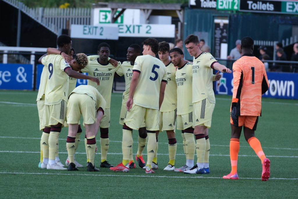 Arsenal u23 team huddle ahead of their match against Bromley FC (Photo by Dan Critchlow)