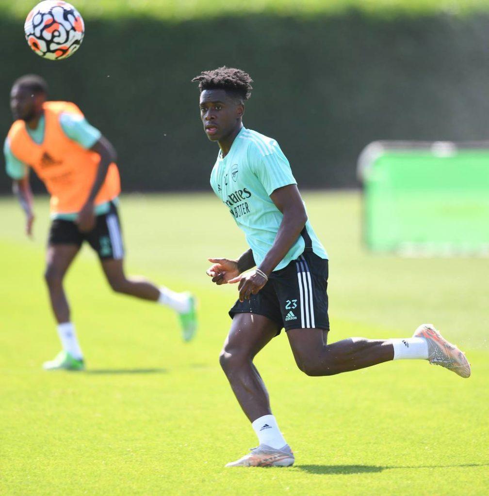 Albert Sambi Lokonga in training with Arsenal (Photo via Arsenal.com)
