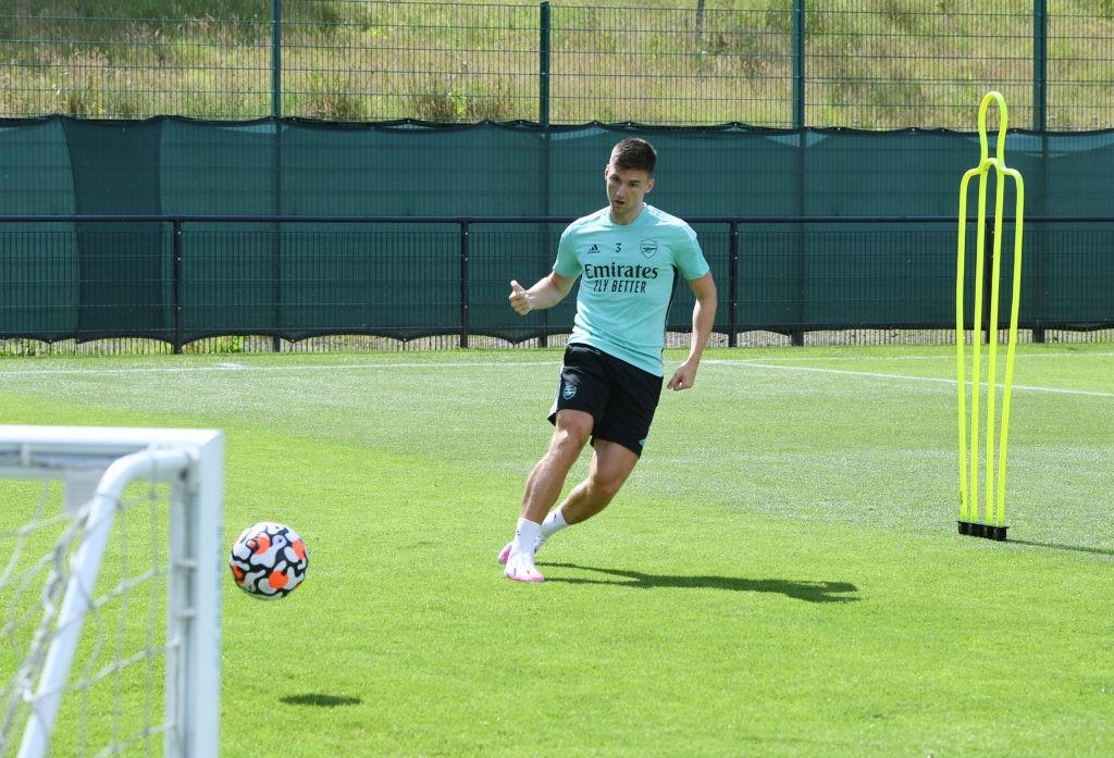 Kieran Tierney in training with Arsenal (Photo via Arsenal on Twitter)