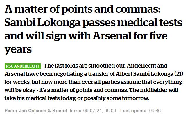 HLN Albert Sambi Lokonga to Arsenal