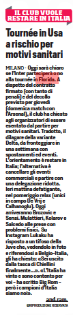 US tour at risk for health reasons - Corriere dello Sport, 19 July 2021