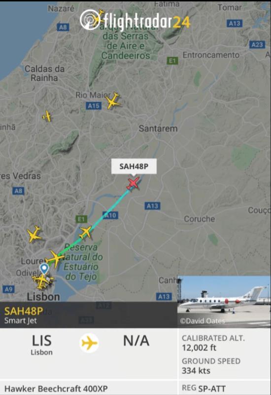 Arsenal fans have already tracked down Nuno Tavares' flight from Lisbon to England Credit: Flight Radar 24