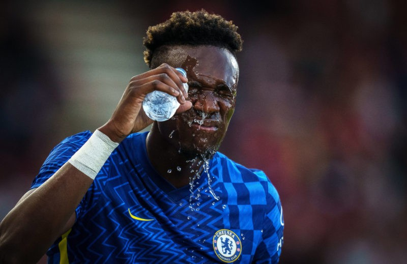 Tammy Abraham of Chelsea covers his face in water during the 2021/22 Pre Season Friendly match between AFC Bournemouth and Chelsea at the Goldsands Stadium, Bournemouth, England on 27 July 2021. Copyright: Andy Rowland