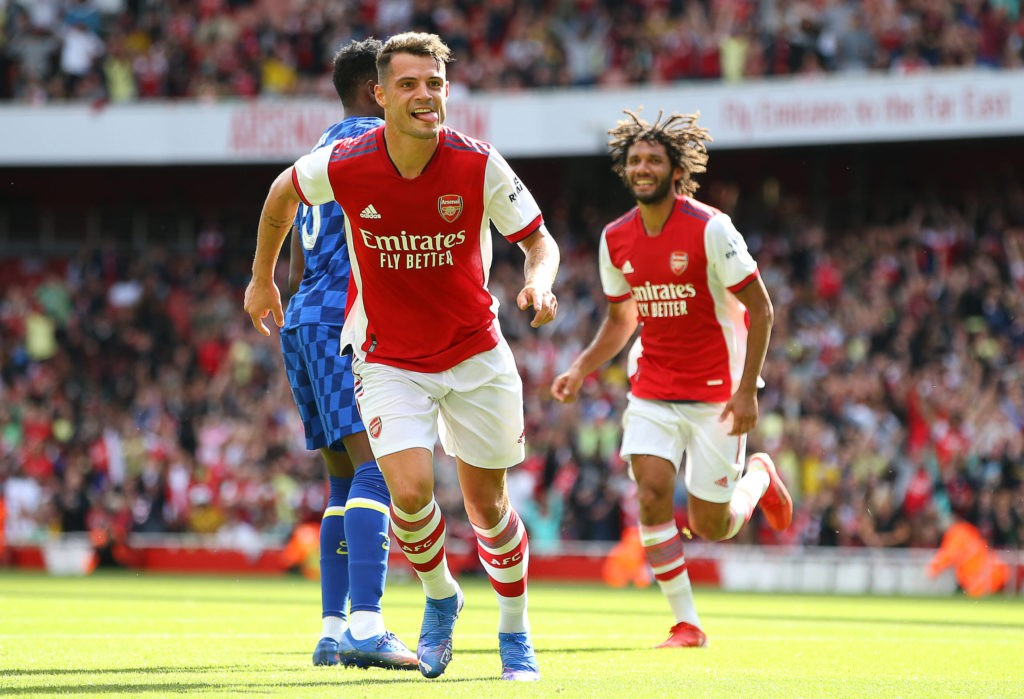 Granit Xhaka celebrates after he scores to make it 1-1 during the Pre Season Friendly match at the Emirates Stadium, London. Picture credit should read: Paul Terry / Sportimage