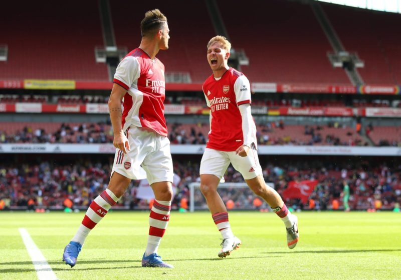 Granit Xhaka celebrates with Emile Smith Rowe after he scores to make it 1-1 during the Pre Season Friendly match at the Emirates Stadium, London. Picture credit should read: Paul Terry / Sportimage