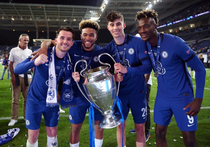 Chelsea's Ben Chilwell, Reece James, Kai Havertz and Tammy Abraham with the trophy following the UEFA Champions League final. Issue date: Monday August 2, 2021. Copyright: Nick Potts