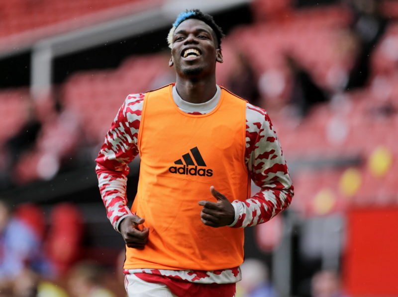Football - 2021 / 2022 Pre-Season Friendly - Manchester United, ManU vs Everton - Old Trafford - Saturday 7th August 2021 Paul Pogba of Manchester United warms up, at Old Trafford. COLORSPORT/ALAN MARTIN