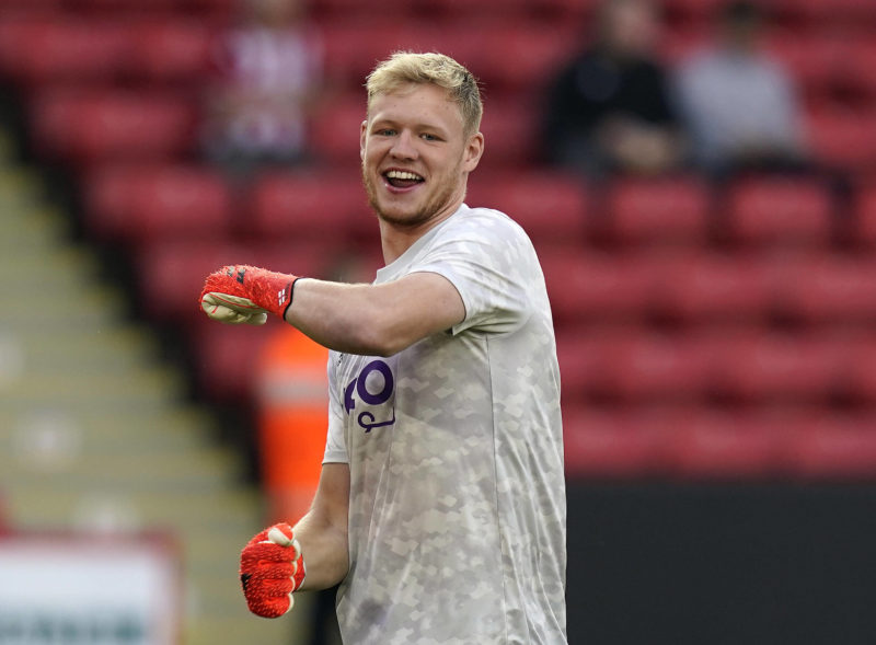 Sheffield, England, 7th August 2021. Aaron Ramsdale of Sheffield Utd during the Sky Bet Championship match at Bramall Lane, Sheffield. Picture credit: Andrew Yates / Sportimage