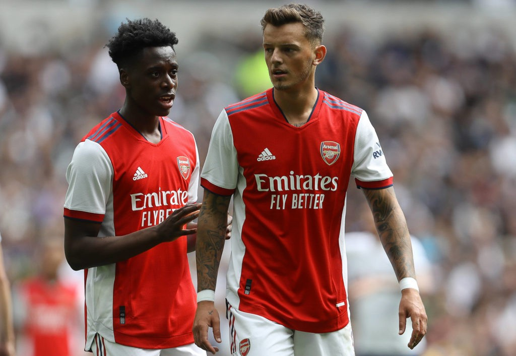 London, England, 8th August 2021. Ben White R and Sambi Lokonga of Arsenal during the Pre Season Friendly match at the Tottenham Hotspur Stadium, London. Picture credit should read: Paul Terry / Sportimage