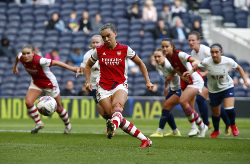 Tottenham Hotspur Women v Arsenal Women - The Mind Series Katie McCabe of Arsenal scores from the penalty spot during The Mind Series between Tottenham Hotspur Women and Arsenal Women at Tottenham Hotspur stadium, in London, England on 08th August 2021. London England United Kingdom Copyright: Action Foto Sport