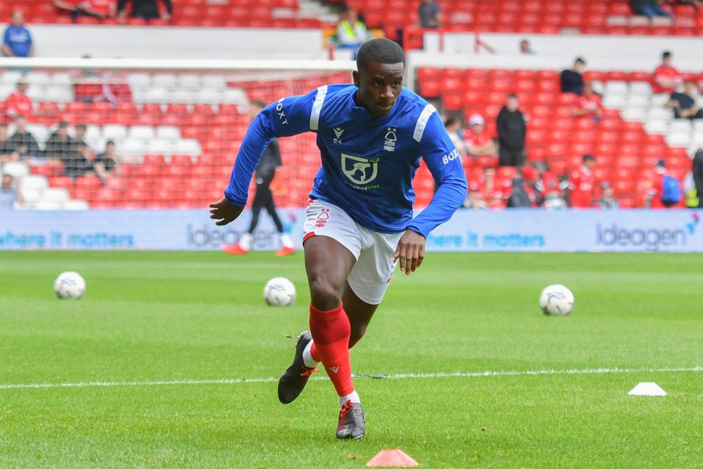 Jordi Osei-Tutu of Nottingham Forest in action during the Sky Bet Championship match between Nottingham Forest and Bournemouth at the City Ground, Nottingham on Saturday 14th August 2021. Copyright: MI News