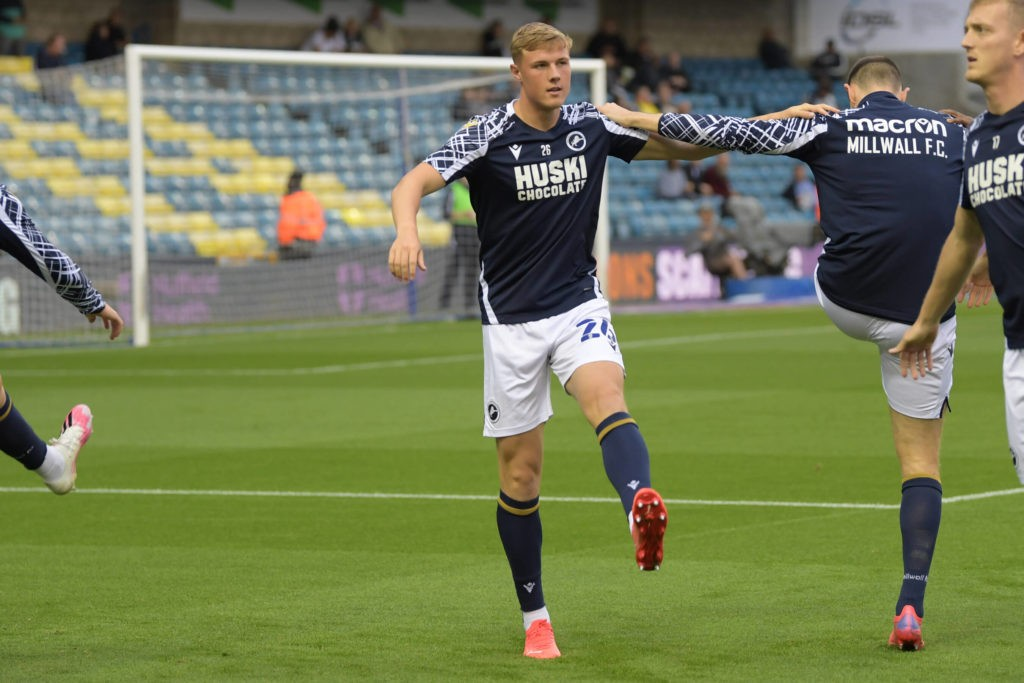 Millwall defender Daniel Ballard warming up prior to the EFL Sky Bet Championship match between Millwall and Fulham at The Den, London, England on 17 August 2021. Copyright: Simon Traylen