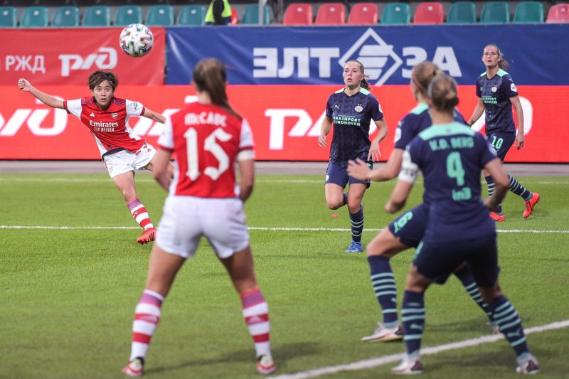 Moscow, Russia, August 21th 2021: Mana Iwabuchi 23 Arsenal scores a goal during the UEFA Womens Champions League Round 1 football match between Arsenal and PSV Eindhoven at Sapsan Arena in Moscow, Russia. UEFA Womens Champions League - Arsenal v PSV Eindhoven