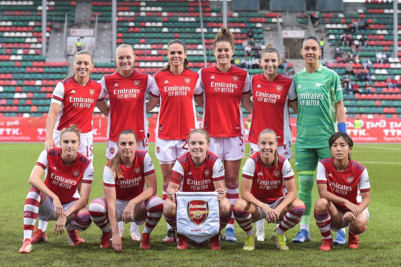 Moscow, Russia, August 21th 2021: Teamphoto Arseanl prior to the UEFA Womens Champions League Round 1 football match between Arsenal and PSV Eindhoven at Sapsan Arena in Moscow, Russia. Mikhail Sinitsyn UEFA Womens Champions League - Arsenal v PSV Eindhoven