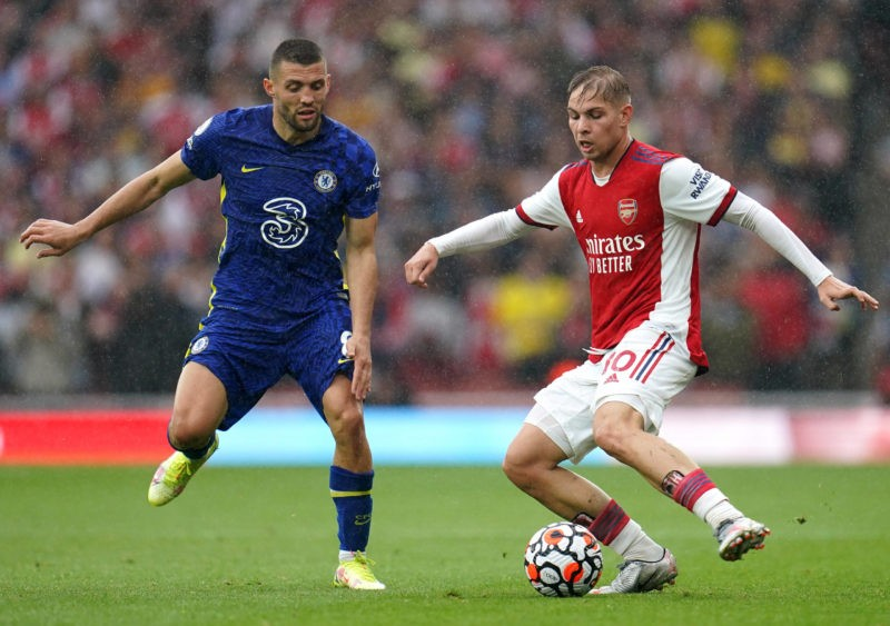 Arsenal v Chelsea - Premier League - Emirates Stadium Chelsea s Mateo Kovacic left and Arsenal s Emile Smith-Rowe battle for the ball during the Premier League match at the Emirates Stadium, London. Picture date: Sunday August 22, 2021. Copyright: Nick Potts