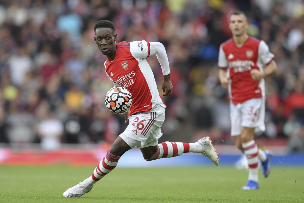 Folarin Balogun of Arsenal in action during the Premier League match between Arsenal and Chelsea at the Emirates Stadium, London, England on 22 August 2021. Copyright: Vince Mignott